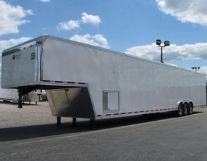 triple axle gooseneck race car trailer with generator compartment